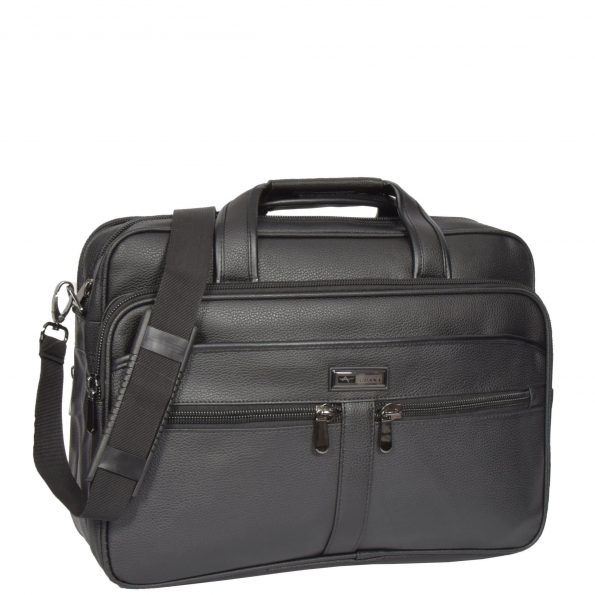 Leather Look Office Cross Body Bag HL81 Black
