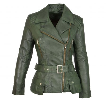 Womens Leather Hip Length Biker Jacket Celia Green