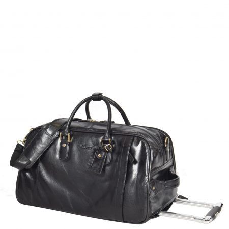 Exclusive Leather Wheeled Holdall Mexico Black