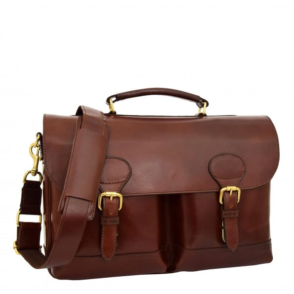 Mens Leather Cross Body Flap Over Briefcase Exeter Brown
