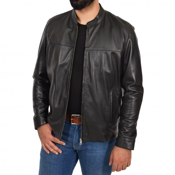 Mens Leather Standing Collar Jacket Paul Black