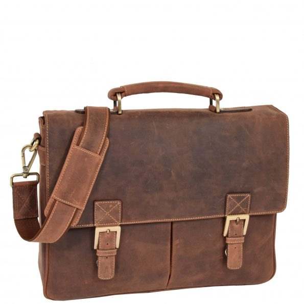 Men's Leather Cross Body Flap Over Briefcase Cobar Tan