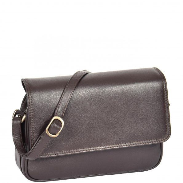 Womens Small Leather Cross Body Bag H87 Brown