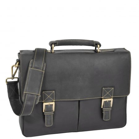 Mens Leather Cross Body Flap Over Briefcase Cobar Brown