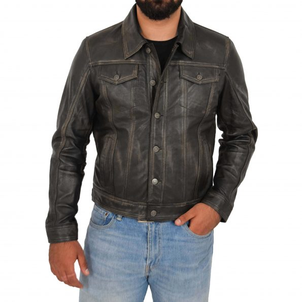 Mens Leather Lee Rider Casual Jacket Terry Black Two Tone