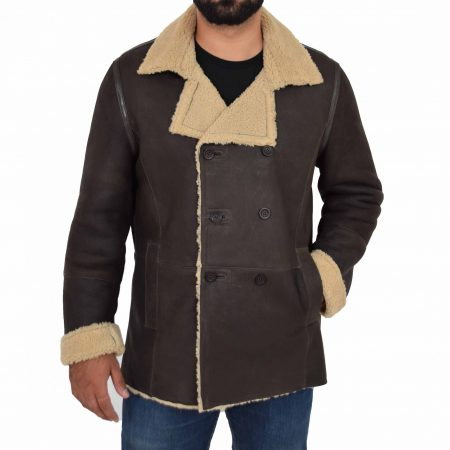 Mens Double Breasted Sheepskin Jacket Theo Brown