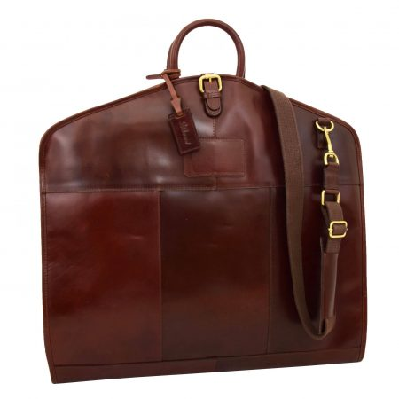 Luxury Leather Slimline Garment Carrier Keswich Brandy