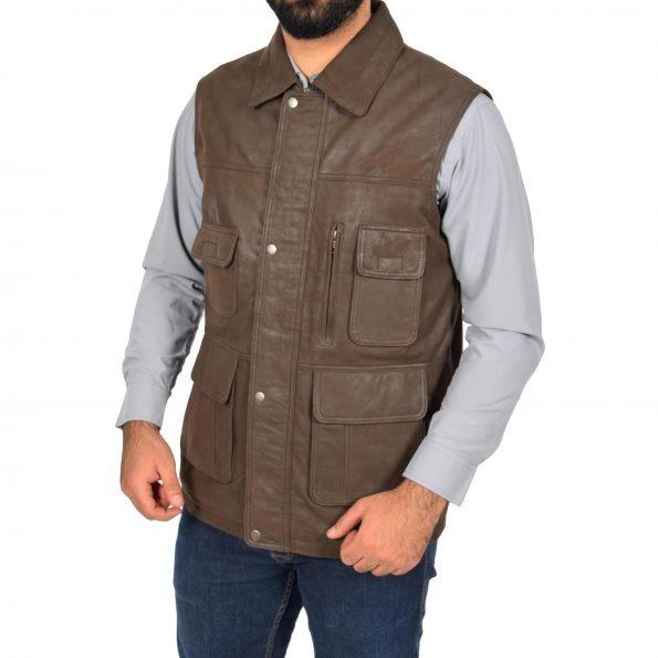 Mens Leather Multi Purpose Gilet Roger Brown