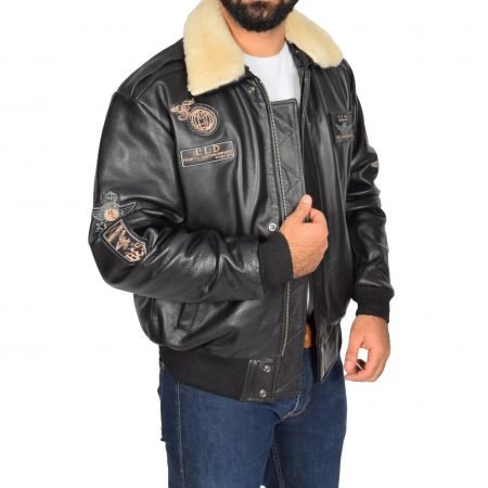 Mens Leather Jacket with Detachable Collar Pilot-N Black
