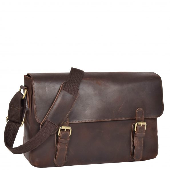 Womens Vintage Leather Flap Over Bag H009 Brown