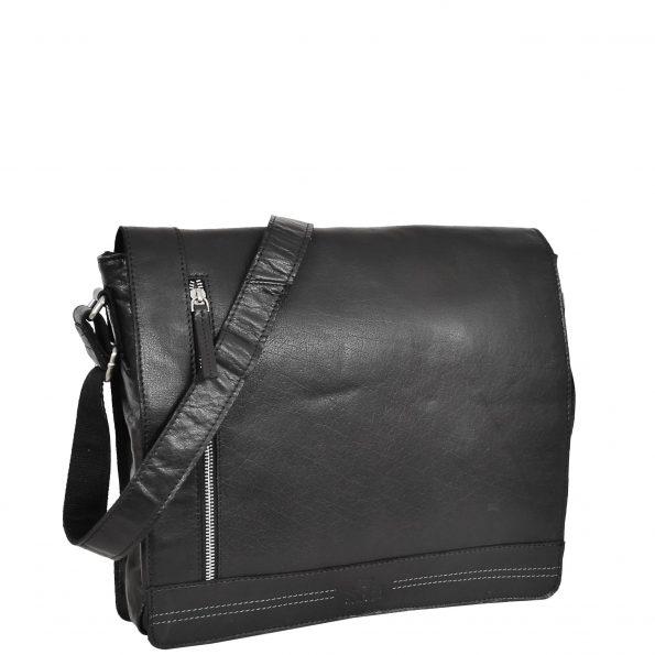 Mens Leather Flap Over Cross Body Bag Bristol Black