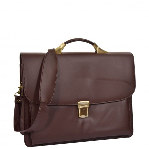 Leather Look Cross Body Briefcase H75 Brown