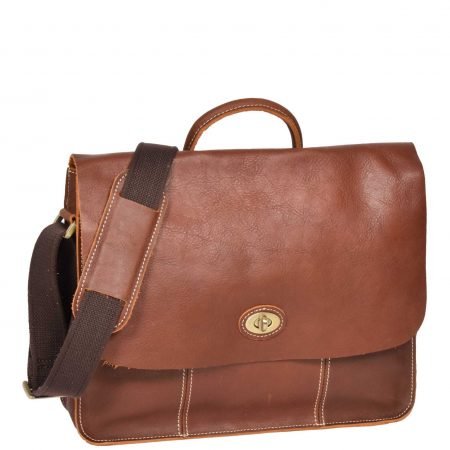 Women Leather Classic Satchel Style Bag H8109 Tan
