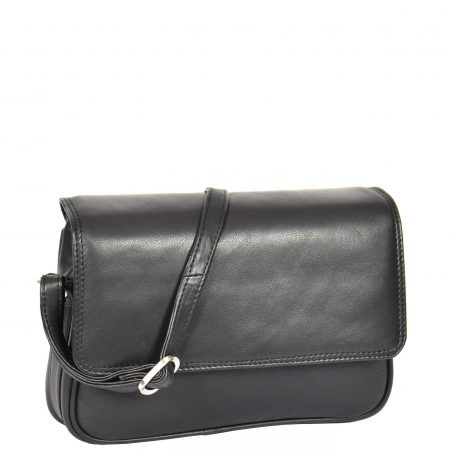 Women's Small Leather Cross Body Bag H87 Black