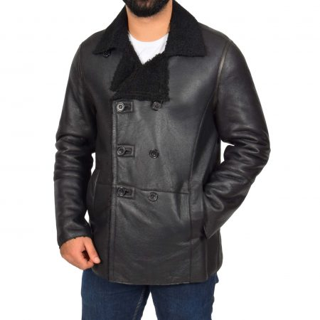 Mens Double Breasted Sheepskin Jacket Theo Black