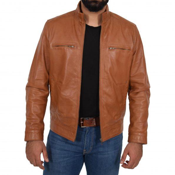 Men's Standing Collar Leather Jacket Tony Tan