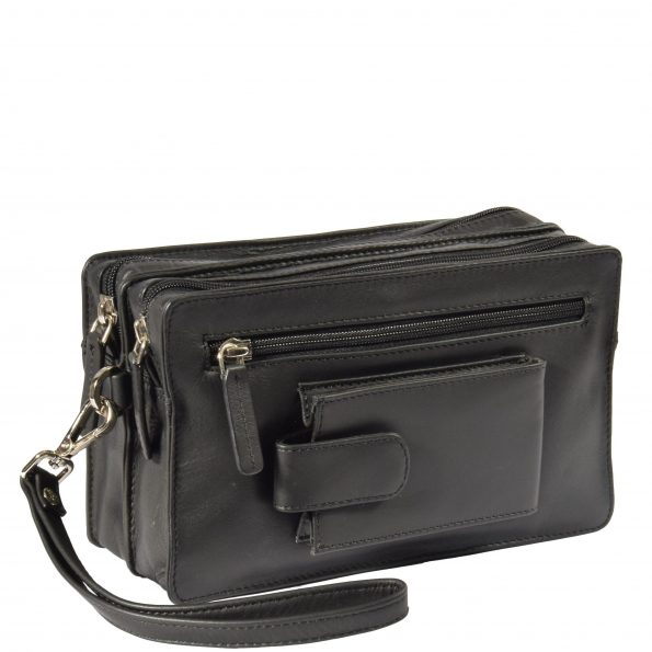 Real Leather Travel Wrist Pouch Bahamas Black
