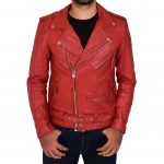 Mens Leather Biker Jacket Brando Style Johnny Red