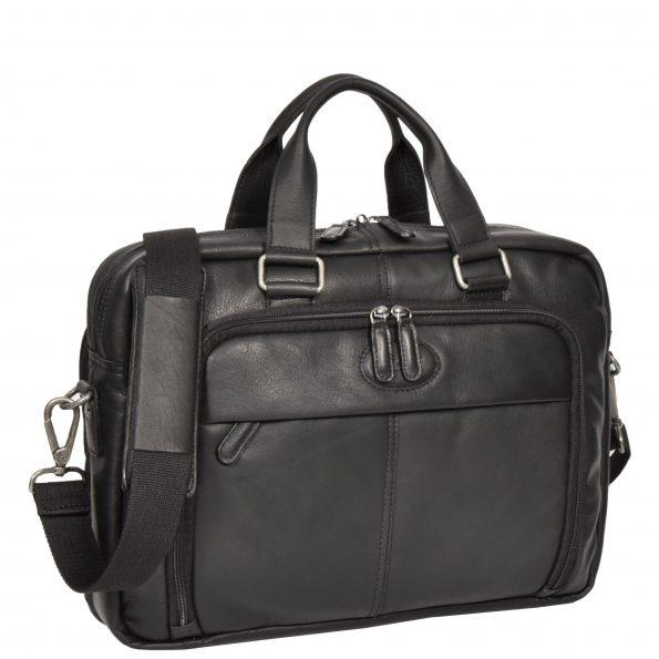 Mens Leather Laptop Organiser Briefcase HL341 Black