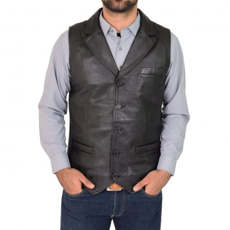 Mens Leather Buttoned Waistcoat Gilet Calvin Black