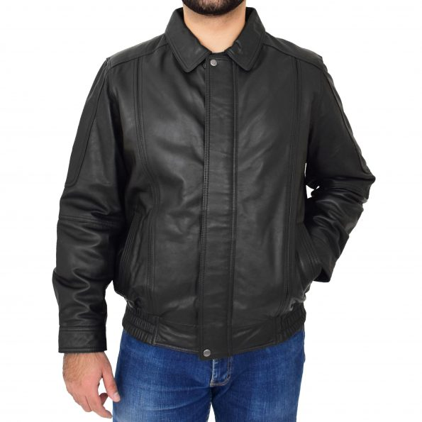 Mens Bomber Leather Jacket Classic Style Jim Black