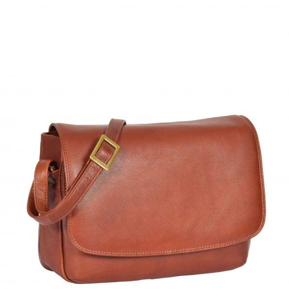 Womens Leather Cross Body Shoulder Bag Maldives Brown