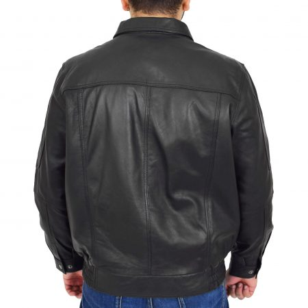 Mens Bomber Leather Jacket Classic Style Jim Black