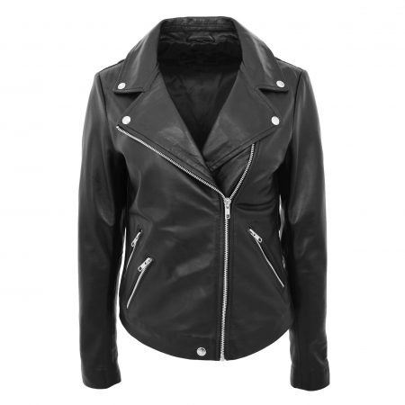 Womens Leather Biker Style Jacket Cross Zip Maya Black