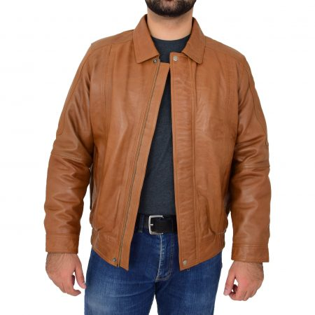Mens Bomber Leather Jacket Classic Style Jim Tan