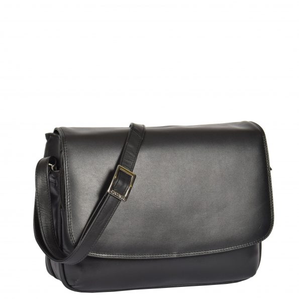 Womens Leather Cross Body Shoulder Bag Maldives Black