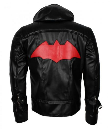 Batman Arkham Knight Black Hood Faux Leather Men Jacket