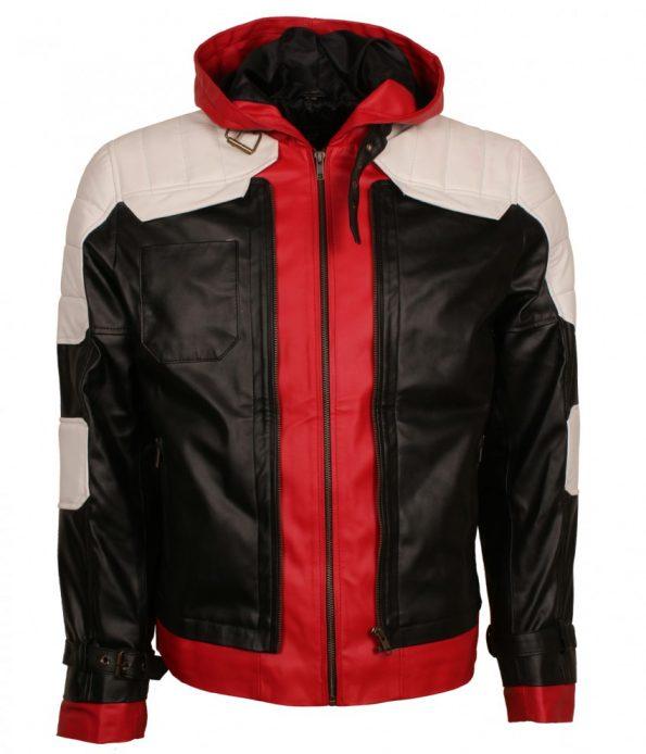 Batman Arkham Knight Red Black Hooded Men Leather Jacket