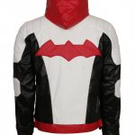 Batman Arkham Knight Red Black Hooded Men Leather Jacket