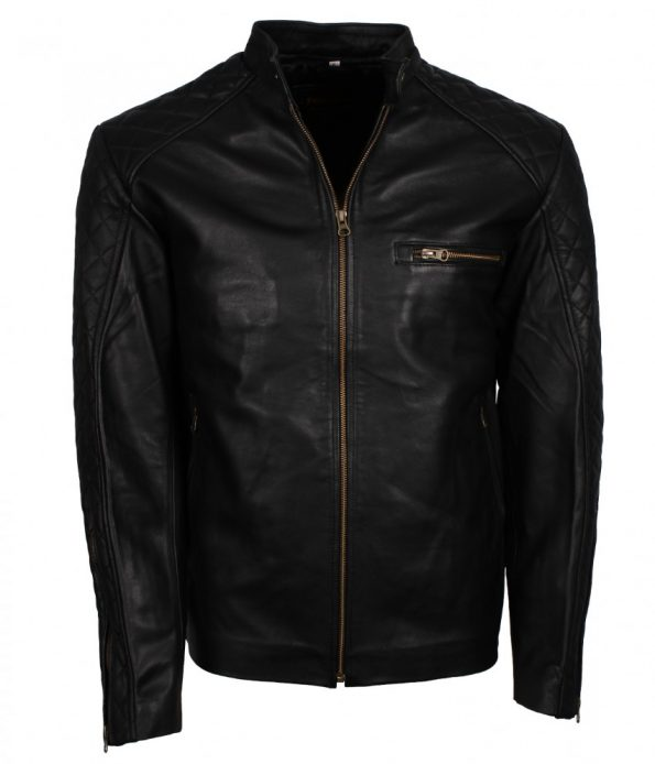 Simple Designer Black Quilted Shoulders Faux Leather Jacket for Men
