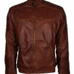 Classic Cafe Racer Quilted Brown Mens Motorcycle Leather Jacket