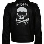 Brando BRMC Johnny Stabler Wild One Skull Black Leather Biker Jacket