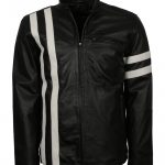 Driver San Francisco John Tanner Men Striped Black Biker Leather Jacket