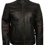 Frisco Men Black Quilted Asymmetrical Motorcycle Vintage Leather Jacket