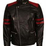 Fight Club Mayhem Hybrid Striped Biker Black Leather Motorcycle Jacket
