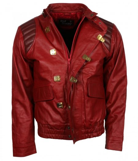 Men Inspired Red Kaneda Akira Capsule Faux Leather Jacket Costume