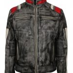Men Biker Retro Distressed Grey Striped Leather Motorcycle Jacket