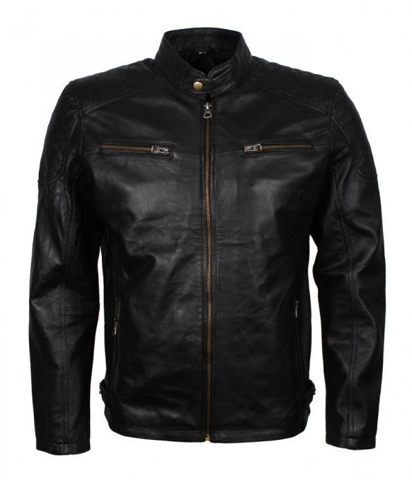 Men Bradley Cooper Sports Inspired Black Biker Leather Jacket