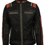 Men Cafe Racer Biker Retro Black Motorcycle Leather Jacket