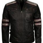 Men Cafe Racer Distressed Retro Striped Black Motorcycle Leather Jacket