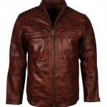 Men Cafe Racer Quilted Vintage Brown Waxed Biker Leather Jacket