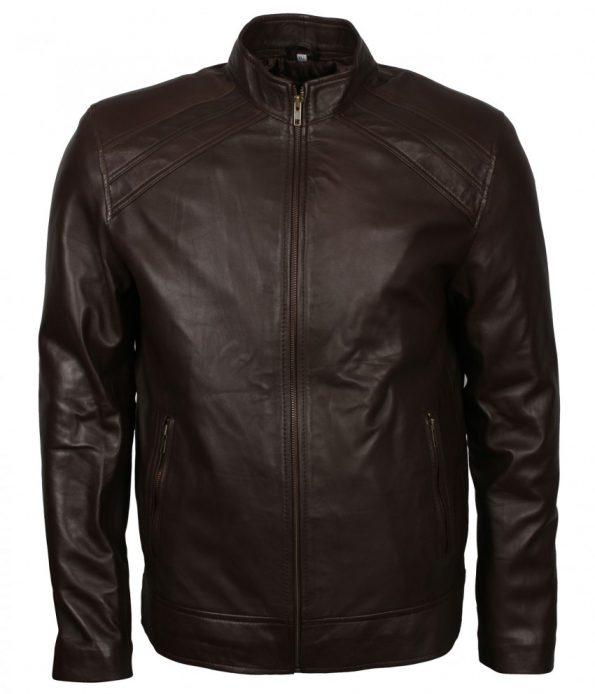 Men Casual Designer Bomber Brown Real Leather Biker Jacket