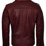 Men Classic Boda Biker Brando Quilted Maroon Biker Leather Jacket