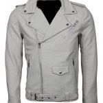 Men Classic Boda Biker Brando White Biker Leather Jacket Outfit