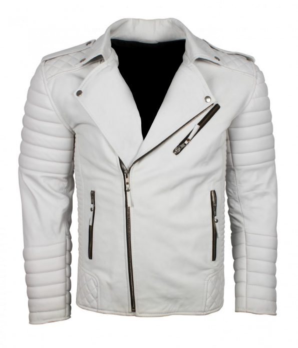 Mens Classic Brando Boda Biker Quilted White Motorcycle Leather Jacket