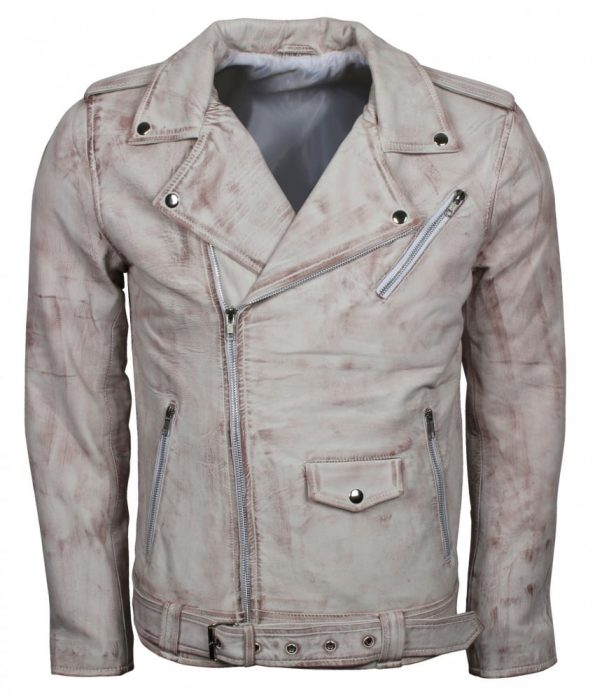 Men Classic Brando Quilted White Waxed Leather Biker Jacket